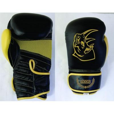 """Перчатки боксерские детские """"ECOS Kids Black-Gold""""-8, 8 унций, Кожа, цвет: Черный с золотом"""