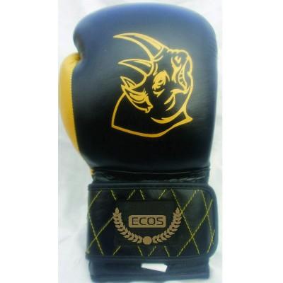 """Перчатки боксерские """"ECOS Punch Black-Gold""""-14, 14 унций, кожа, черный"""
