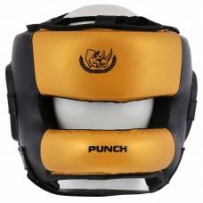 "Шлем боксерский ""ECOS Punch black-gold bumper""-M-L-XL"