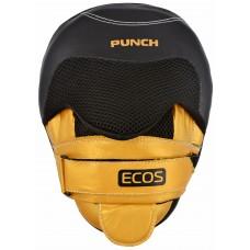 """Лапы боксерские """"ECOS Punch Black-Gold gel"""", цвет: Черный с золотом"""