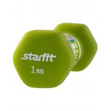 Гантель неопреновая STARFIT DB-201 1 кг, салатовая (1 шт.)