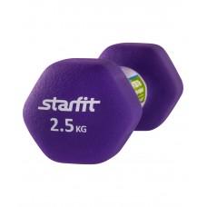 Гантель неопреновая STARFIT DB-201 2,5 кг, фиолетовая (1 шт.)