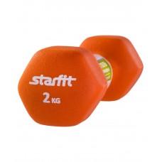 Гантель неопреновая STARFIT DB-201 2 кг, оранжевая (1 шт.)