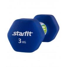 Гантель неопреновая STARFIT DB-201 3 кг, синяя (1 шт.)