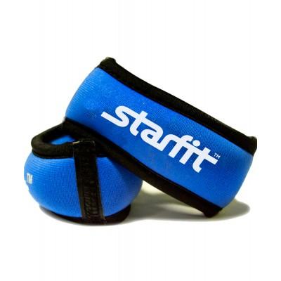 """Утяжелители STARFIT WT-101 для рук """"Браслет"""", 0,75 кг, синий/черный"""