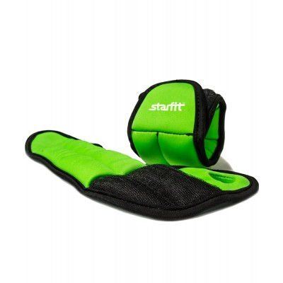 """Утяжелители STARFIT WT-201 для рук """"Эргономичные"""", 0,5 кг, зеленый/черный"""