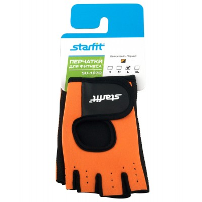 Перчатки для фитнеса STARFIT SU-107, оранжевый/черный, синий/черный
