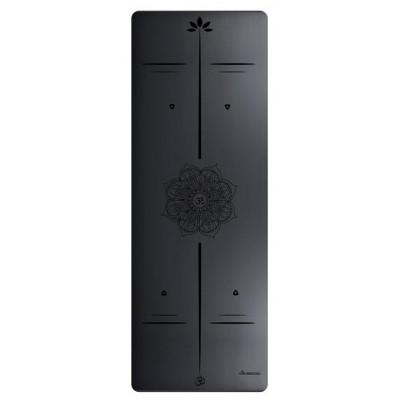 Коврик для йоги из каучука с разметкой 183х68х0,5 см, Черный цветок