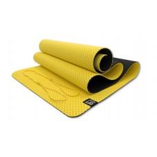 Коврик для йоги 6 мм TPE двухслойный перфорированный желтый