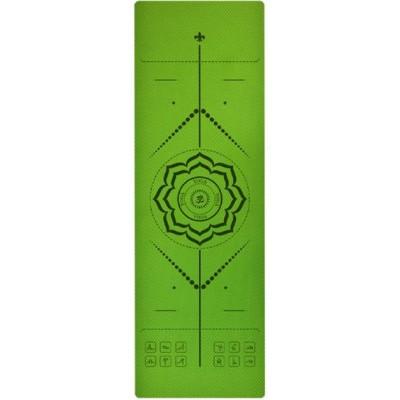 Коврик для йоги зеленый, 183x61x0,6 см TPE, с рисунком Цветок