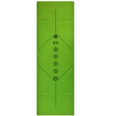 Коврик для йоги зеленый, 183x61x0,6 см TPE, с рисунком Чакры