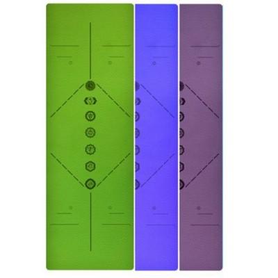 Коврик для йоги фиолетовый, 183x61x0,6 см TPE, с рисунком Чакры