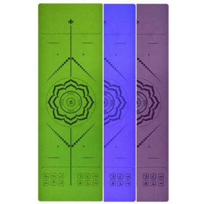 Коврик для йоги сиреневый, 183x61x0,6 см TPE, с рисунком Цветок