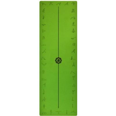 Коврик для йоги зеленый, 183x61x0,6 см TPE, с рисунком Асаны