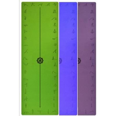 Коврик для йоги фиолетовый, 183x61x0,6 см TPE, с рисунком Асаны