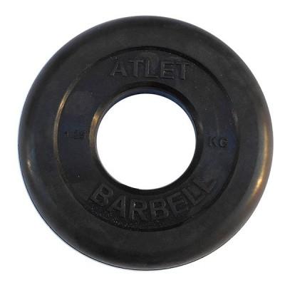Диск обрезиненный черный BARBELL ATLET d-26 1,25кг