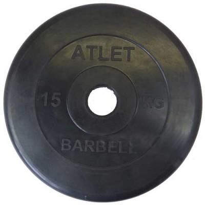 Диск обрезиненный черный BARBELL ATLET d-51 15кг
