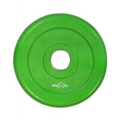 Диск обрезиненный STARFIT BB-201 0,5 кг, d=26 мм, стальная втулка, зеленый