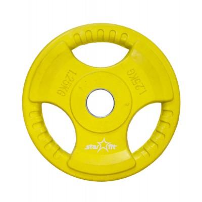 Диск обрезиненный STARFIT BB-201 1,25 кг, d=26 мм, стальная втулка, желтый