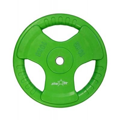 Диск обрезиненный STARFIT BB-201 10 кг, d=26 мм, стальная втулка, зеленый