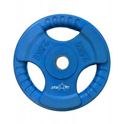 Диск обрезиненный STARFIT BB-201  2,5 кг, d=26 мм, стальная втулка, синий