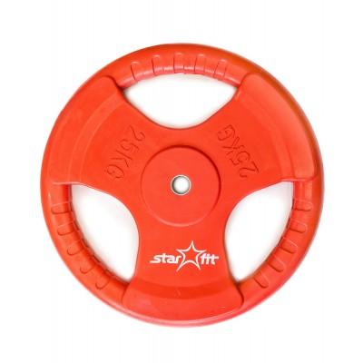 Диск обрезиненный STARFIT BB-201 25 кг, d=26 мм, стальная втулка, красный