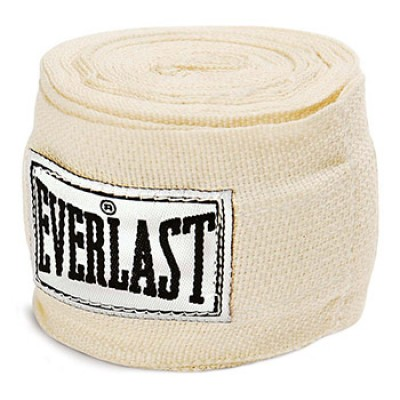 Бинт боксерский Everlast 4455PU, 2.75м, х/б, белый