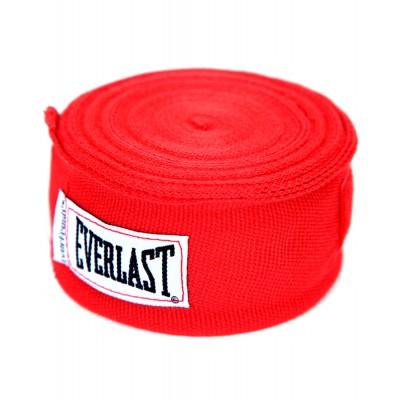 Бинт боксерский Everlast 4456BLU, 4.55м, х/б, красный