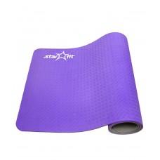 Коврик для йоги STARFIT FM-201 TPE 173x61x0,5 см, фиолетовый/серый