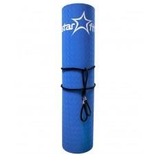 Коврик для йоги STARFIT FM-201 TPE 173x61x0,4 см, синий/серый
