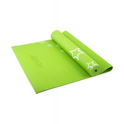 Коврик для йоги STARFIT FM-102 PVC 173x61x0,6 см, с рисунком, зеленый