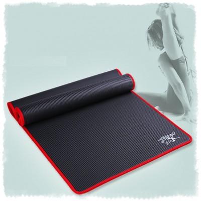 Коврик для йоги из NBR c окантовкой 183х61х1 см KN1001, черный/красный