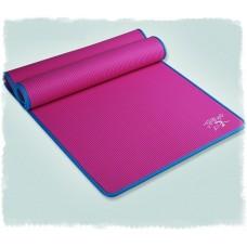 Коврик для йоги из NBR c окантовкой 183х61х1 см KN1002, розовый/синий