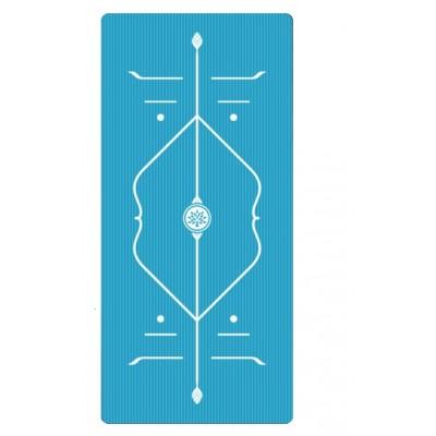 Коврик для йоги из NBR c разметкой 185х80х1 см AOYI KN1009, бирюзовый