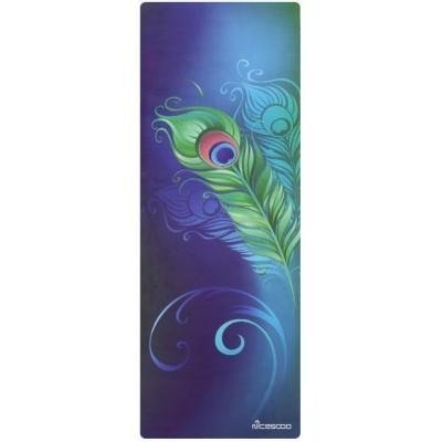 Коврик для йоги из каучука и микрофибры 178х61х0,35 см Nagudi Павлинье перо