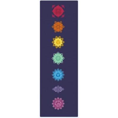 Коврик для йоги из каучука и микрофибры 183х61х0,35 см KN1020 7 чакр, синий