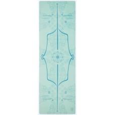 Коврик для йоги из каучука и микрофибры 183х61х0,35 см KN1022 с разметкой, зеленый
