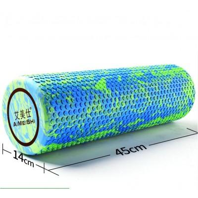 Ролик для йоги и пилатеса массажный Aimeishi KN1038  45х14 см, зеленый/синий