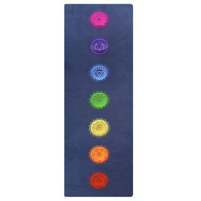 Коврик для йоги из каучука и микрофибры 178х61х0,35 см Nagudi Энергетические чакры, синий