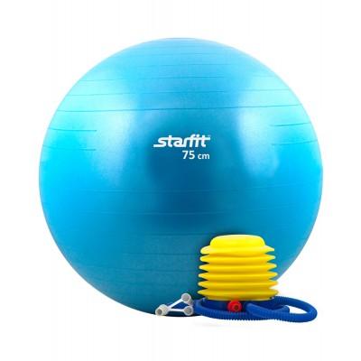 Мяч гимнастический STARFIT GB-102 75 см, с насосом, синий (антивзрыв)