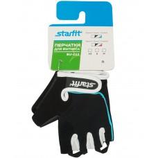 Перчатки для фитнеса универсальные STARFIT SU-111, черный/белый/голубой