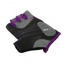 Перчатки для фитнеса женские STARFIT SU-113, черный/фиолетовый/серый
