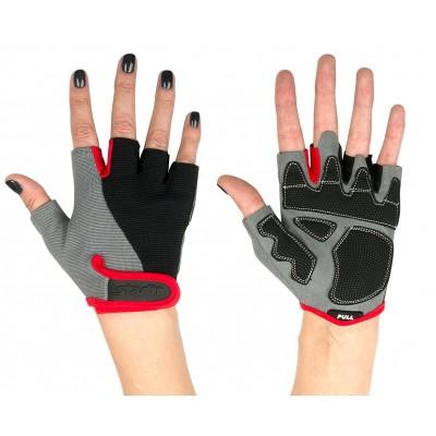 Перчатки для фитнеса универсальные STARFIT SU-117, черный/серый/красный