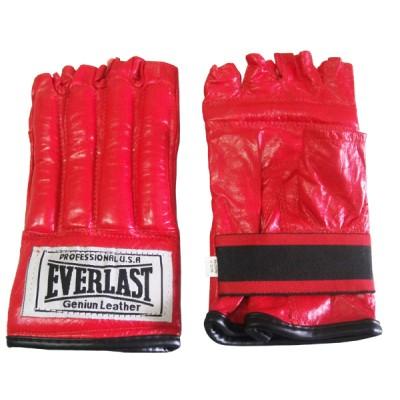 Шингарды Everlast, красный, синий, класс Люкс, кожа, широкая манжета на резинке