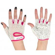 Перчатки для фитнеса STARFIT SU-110, белый/розовый